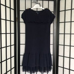 GAP Girls (6-7)  Navy Blue Knitted & Lace Dress